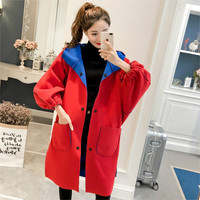 2019 new Hooded coat Korean version of autumn winter long paragraph cape type loose double faced woolen coat women's clothing