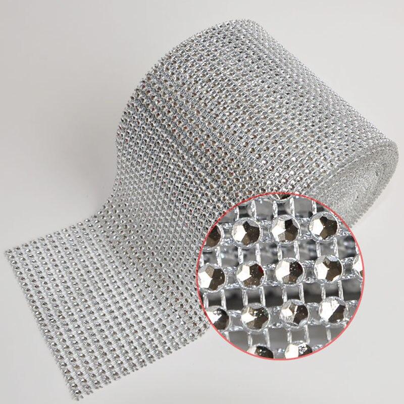 Base de Prata Corrente para a Decoração do Casamento Linhas Jardas Strass Malha Aparamento Oco Imitação Cristal Fita Copo Cl01 4mm 24 10
