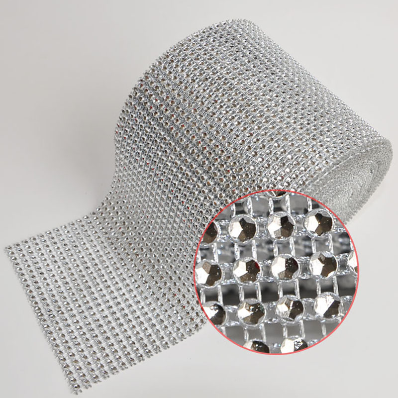 4mm 24Rows 10 Yards Silver Base Rhinestones Mesh Trimming Hollow Imitation Crystal Ribbon Cup Chain For Wedding Decoration CL01