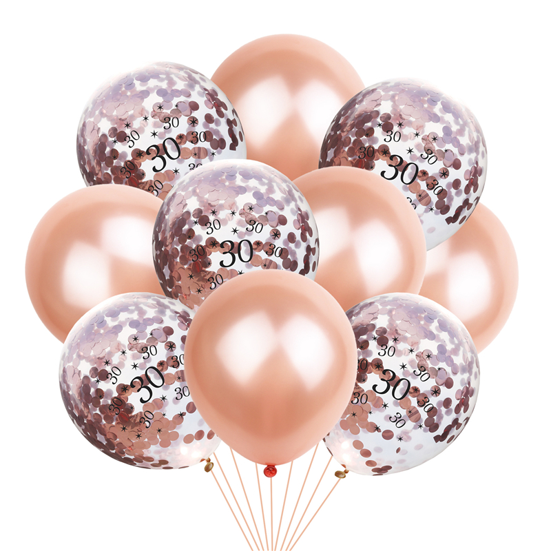10pcs 12inch Rose Gold Number Birthday Balloons Confetti Latex Ballon Happy 30 40 50 60 70 80th Birthday Party Decorations Adult