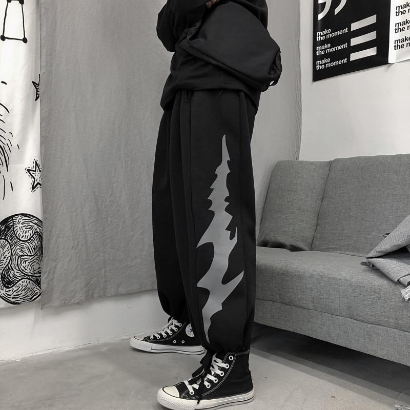 Focal20 Streetwear Lightning Print Women Jogger Pants Elastic Waist Drawstring Female Trousers Casual Loose Autumn Lady Bottoms 1