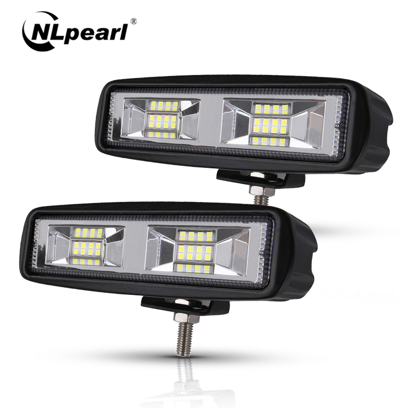 Nlpearl Light Bar/Work Light Led Fog Lights off road 4x4 48W Spot Beam Led Light Bar For Trucks Jeep ATV SUV DRL LED Spotlight
