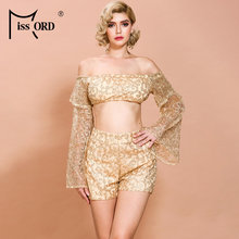 Missord 2019 Autumn Winter Sexy Slash Neck Off Shoulder Glitter Women Two Pcs Set Elegant Playsuit FT8647(China)