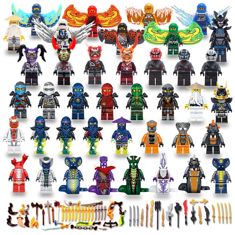 40PCS Ninjago Figures Masks Wu Lloyd KAI JAY COLE ZANE Snake Princess SONS OF GARMADON Building Blocks Compatible With Legoing