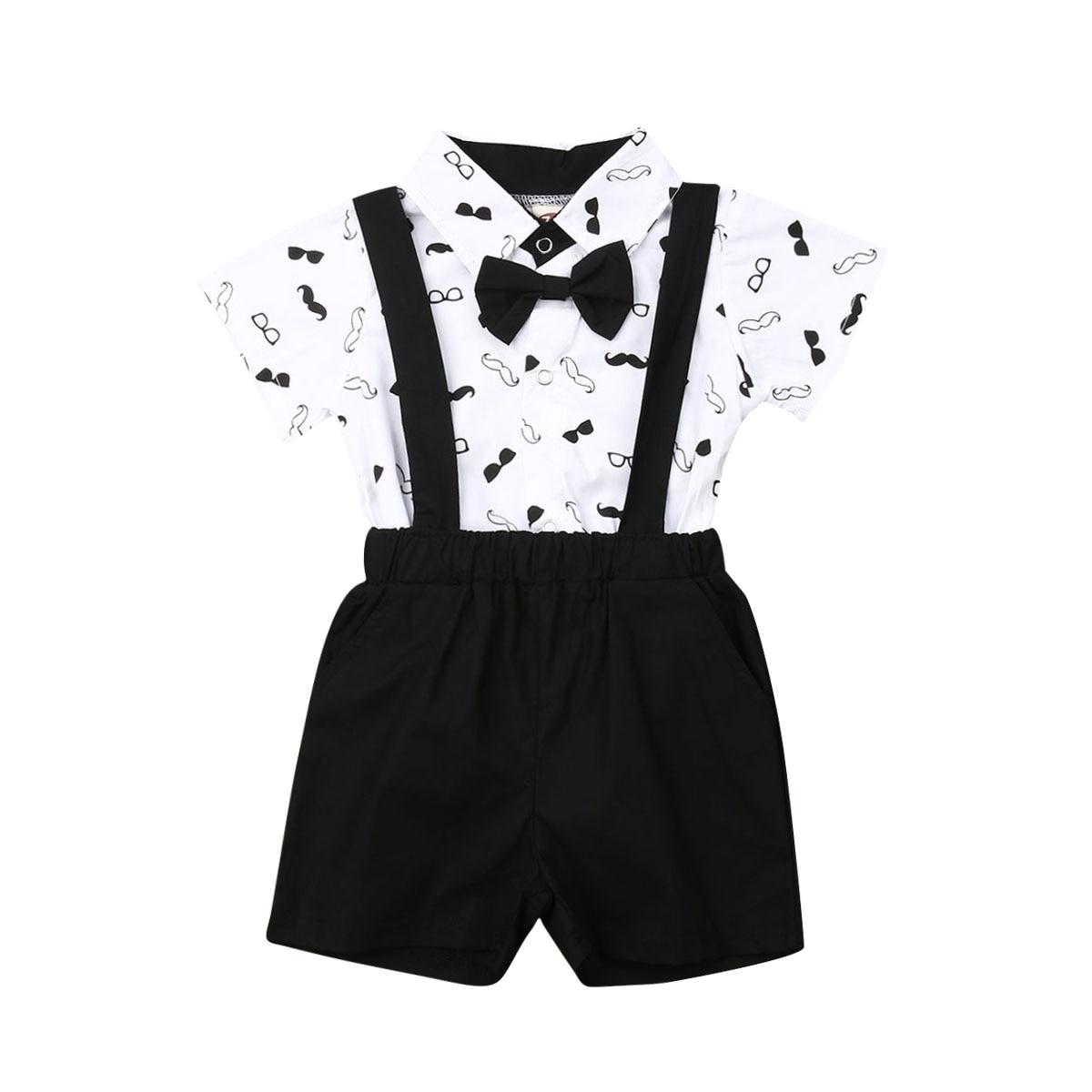 2020 verão recém-nascidos do bebê meninos ternos formais roupas infantis arco camisas bodysuit macacão shorts da criança festa de casamento outfits