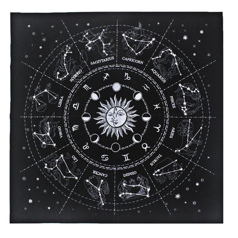 49*49cm Black Flannel Tarot Tablecloth Star Divination 12 Constellations Astrology
