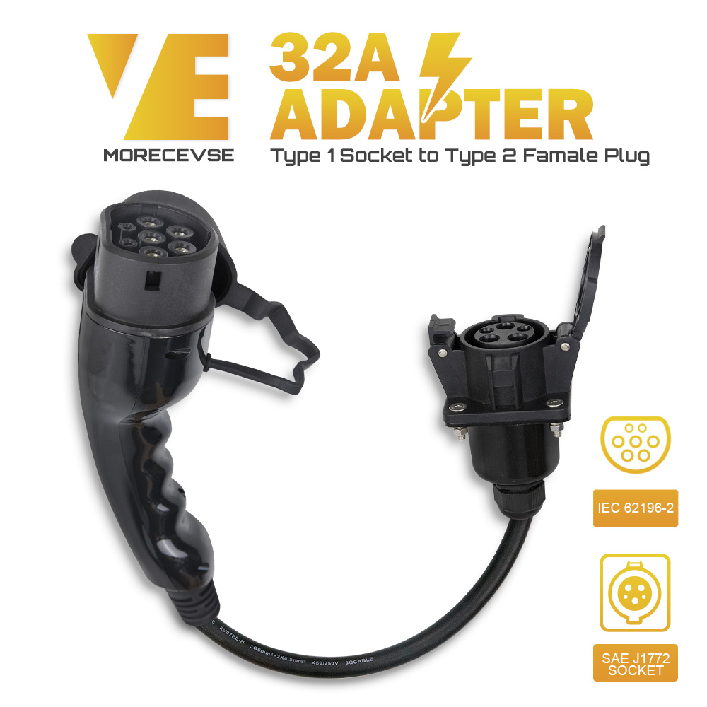 Morec EV Charger Adapter EVSE Charing Cable Type1 Inlet To Type 2 Plug Flexible 32A 1 Phase For Chevy...