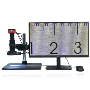 Image 4 - Full HD SONY capteur 2K 1080P HDMI vidéo Microscope électronique caméra de mesure Zoom continu c mount lentille métal PCB Inspection