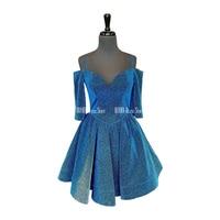 Sparkly Gold Blue Homecoming Dresses V Neck Off The Shoulder Half Sleeves Short Cocktail Dresses Zipper Up Back Mini Prom Gowns