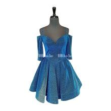 Sparkly Gold Blue Homecoming Dresses V-Neck Off-The-Shoulder