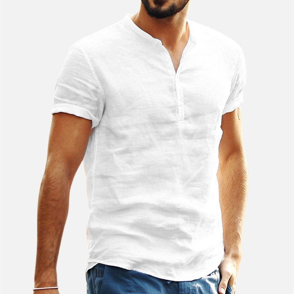 Men's Baggy Cotton Linen Soid Color Short Sleeve Retro T Shirts Tops Men's Casual Durable Shirt 3.25