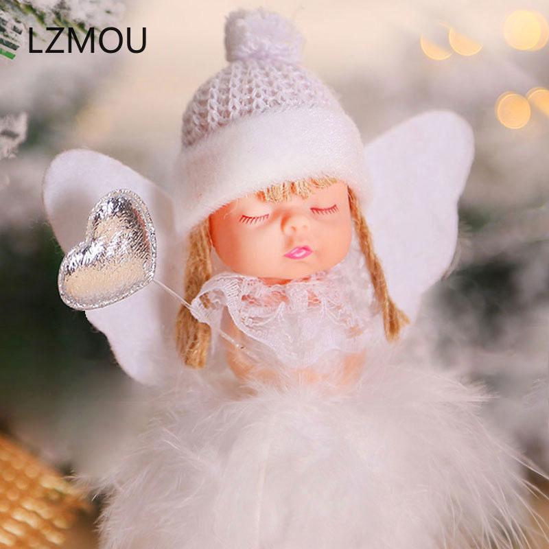 Рождественский Ангел девочка мальчик лыжные Куклы Орнамент с рождественской елкой натальные Noel Deco рождественские украшения для дома Новый...