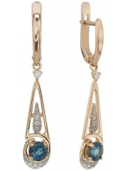 Aloris earrings with Topaz and cubic zirconia in red gold