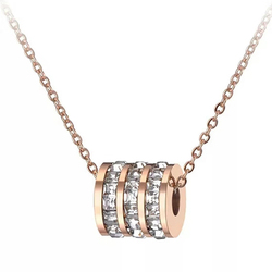 Klasyczne kobiety cyrkonia koło Choker naszyjniki z Pave ustawienie dżetów różowe złoto damska biżuteria ze stali nierdzewnej
