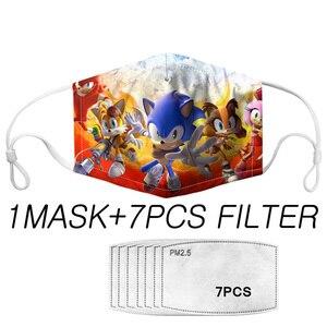 Маска для рта для лица 7, фильтр PM2.5, многоразовые комфортные маски с защитой от зародышей, Детские крутые аниме-Соники