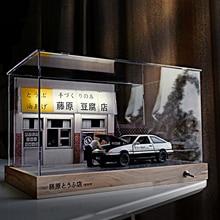 New DIY Wooden Handmade Crafts Car Parking Garage Model Building 3D Fujiwara Shop Assemble Toy Home Office Decoration Gift