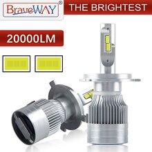 BraveWay [ ] самый яркий светодиодный автомобилей головной светильник лампы H1 H4 светодиодный H7 H11 HB3 HB4 H8 Противотуманные огни авто H4 мотоцикла светильник 12V