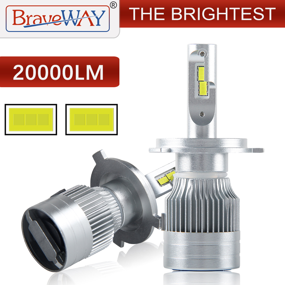 BraveWay [ 2020 NEW ] The Brightest LED Car Headlight Bulbs H1 H4 LED H7 H11 HB3 HB4 H8 Fog Lamps Auto H4 Motorcycle Light 12V