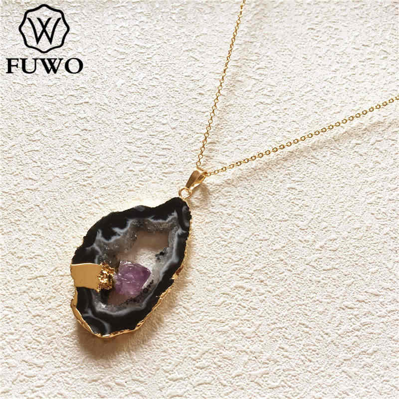 FUWO ナチュラル不規則な Geode 瑪瑙ペンダントネックレス隠蔽小さなゴールドアメジストミネラル女性ギフト NC262
