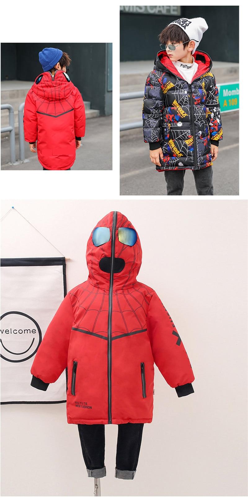 Crianças para baixo jaqueta casaco moda homem-aranha