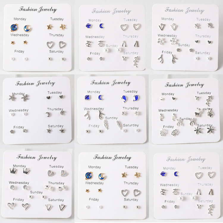 Korean Version Of The Small Whale Planet Moon Triangle Flower Branches Stars Pearl Maple Leaf Notes Set Earrings