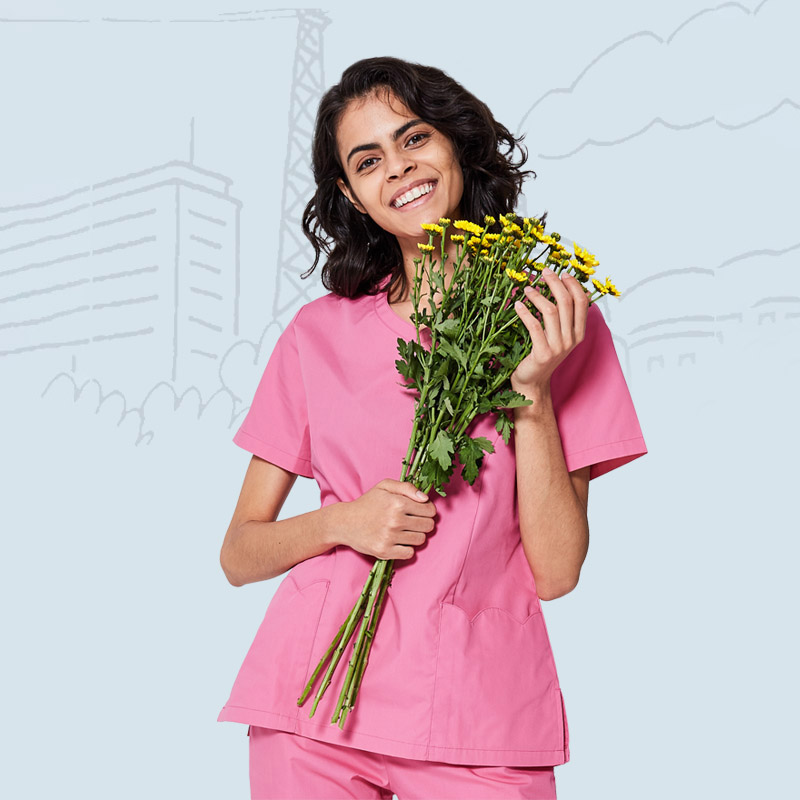 Pink Nurse Uniform Medical Uniforms For Women Hospital OR Scrub Set Comfortable Classic Design New Workwear