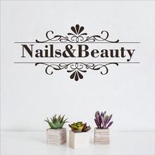 Nail Beauty Salon Wall Sticker Nail Shop Hands Spa Design Manicure Salon Wall Decal Vinyl Durable Easy Removable Art Decor LW151