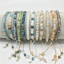 New Square Crystal Beaded Colorful Beads Bracelet for Women Bohemian Preppy Style wholesale