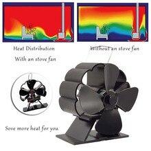 4 klingen Kamin Fan Schwarz Wärme Versorgt Herd Fan Log Holz Brenner Eco Ruhig Kamin Fan Hause Effiziente Wärme Verteilung