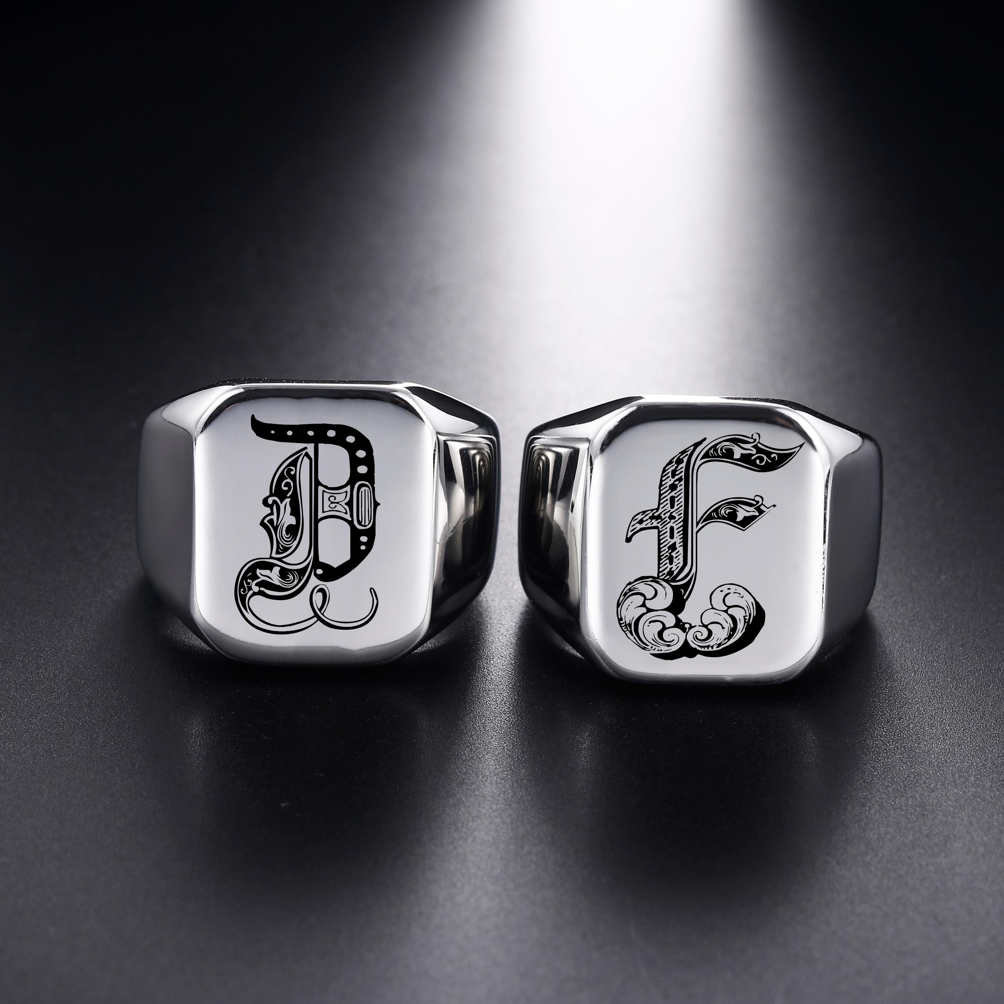 В стиле ретро с инициалами насквозь перстень для Для мужчин объемные Тяжелые Мужская группа Нержавеющаясталь A-Z 26 букв Для мужчин кольца, ю...