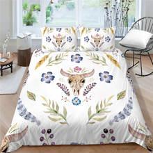 Комплект постельного белья с рисунком черепа и быка винтажный