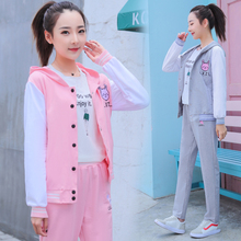 Make girl han edition of leisure sport suit female fleece two-piece spring the and autumn period new junior high