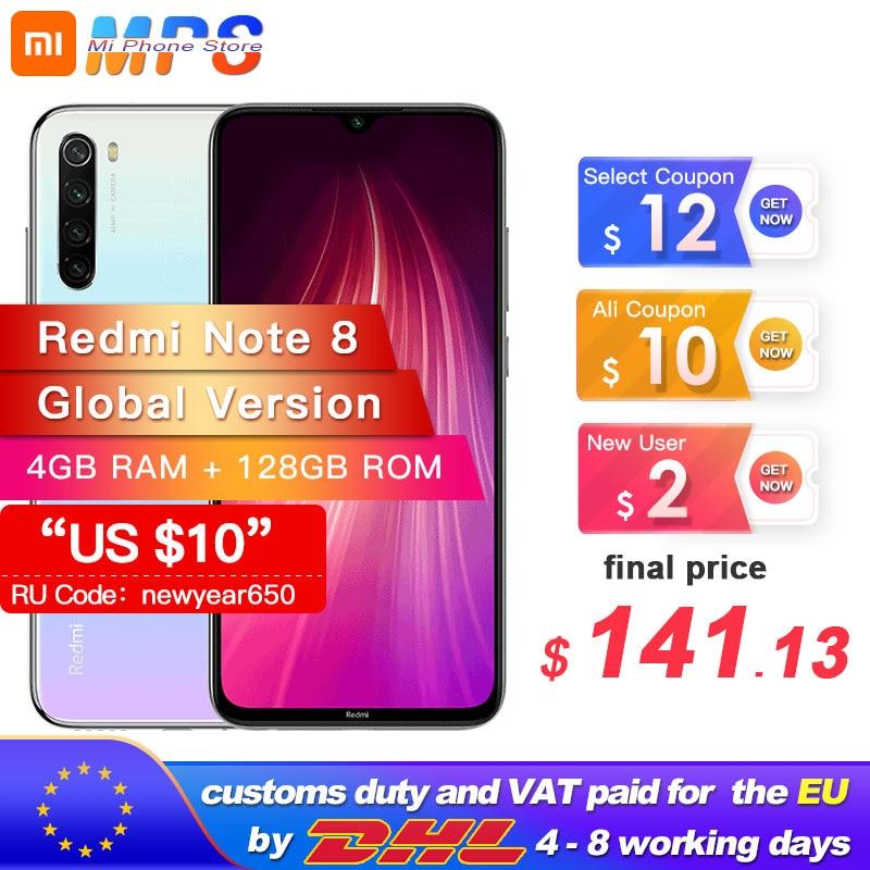 "Global Version Xiaomi Redmi Note 8 128GB 4GB Snapdragon 665 Octa Core Smartphone 6.3"" 48MP Quad Rear Camera MobilePhone 4000mAh"