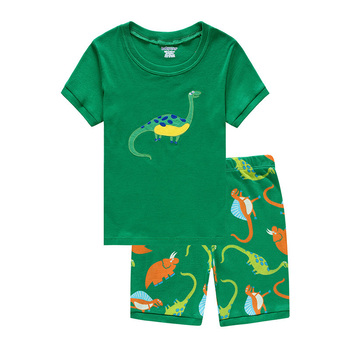 6 Pcs Wholesale Kids Pajamas Sets Baby Boys Girls Sleepwear Short Sleeve Homewear Children Cartoon Dinosaur Print Pyjamas