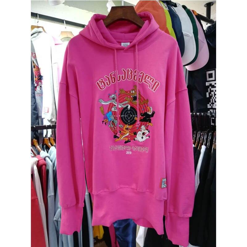 Vetements Hoodies 2019 Men Women  Pink Vetements Hoodies Real Pictures Label  Casual Vetements Sweatshirts Cotton