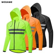 WOSAWE bluza z kapturem kurtki rowerowe czapki dwa pokrowiec do przechowywania wodoodporne MTB Bike Downhill damskie męskie wiatrówki tanie tanio Poliester Anty-pilling Anti-shrink Szybkie suche Odblaskowe Wiatroszczelna Wodoodporna BL225-GBO Pasuje prawda na wymiar weź swój normalny rozmiar