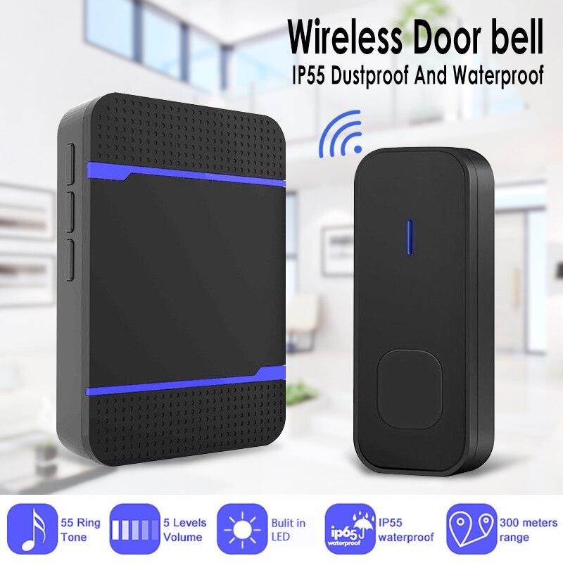 2019 New Wireless Plug In Door Bell Chime 300m Range 55 Melody New Black White Waterproof