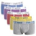 Мужские трусы-боксеры Pink Heroes 5 шт./лот, хлопковое нижнее белье, классические трусы в полоску, удобное U-bag
