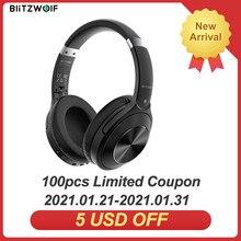 BlitzWolf BW-HP3 casque sans fil bluetooth 40mm pilote graphène diaphragme HiFi stéréo sur-oreille casque antibruit de jeu