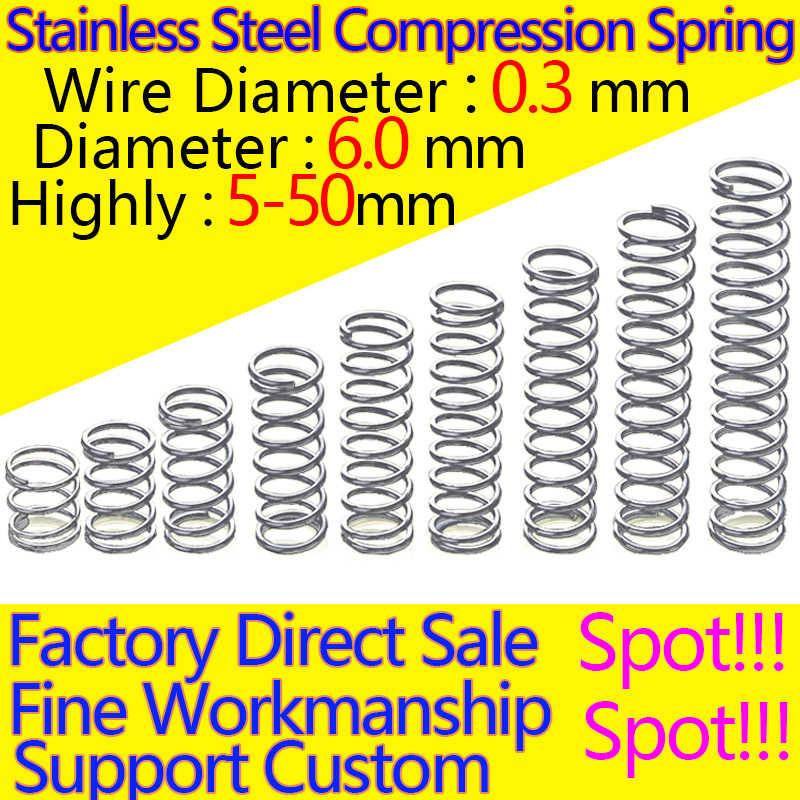 Diâmetro de aço inoxidável 0.3mm do fio da mola de compressão do y-tipo da mola do retorno da mola de compressão 6.0mm em estoque
