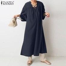 Платье ZANZEA женское с длинным рукавом-фонариком, элегантный однотонный свободный сарафан с разрезом на подоле, повседневная одежда для офис...
