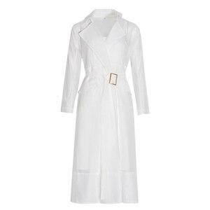 Image 4 - Twotwinstyleボイルレースアップウインドブレーカードレス女性長袖羽ポケットセクシーなパーティードレス女性のエレガントな服2020