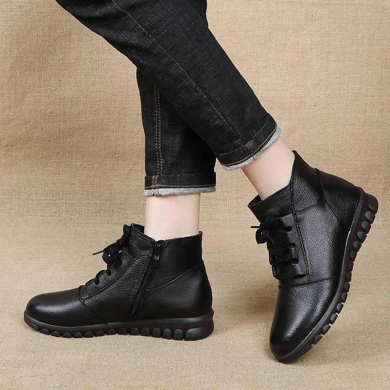 GKTINOO Echt Lederen Schoenen Vrouw Winter Laarzen 2019 vrouwen Enkellaarsjes Flat Met Zip Bont Botas Mujer Vrouwelijke Retro schoenen
