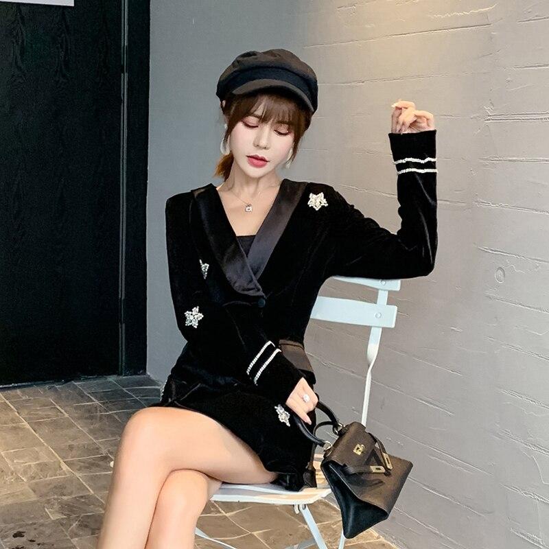 Nouveau velours noir Satin diamant étoiles costume robe femmes 2019 automne dames élégant Double boutonnage à manches longues robes de bureau - 5