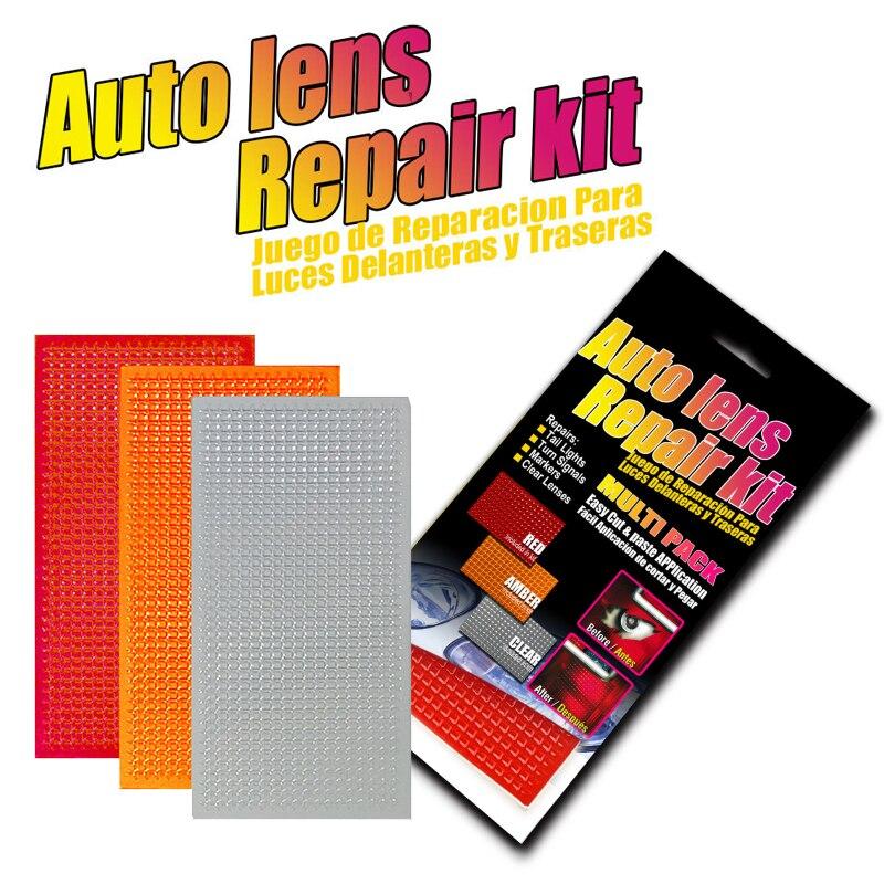 Kit de reparo de lentes de carro, conjunto de 3 cores, ferramenta para reparo de lanterna traseira, correção rápida, quebrada, filme reparo esmalte vermelho