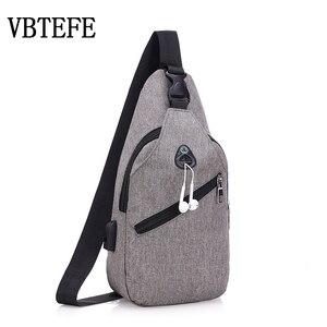 Мужская сумка через плечо VBTEFE, повседневная Водонепроницаемая многофункциональная сумка через плечо с внешней зарядкой, 2020