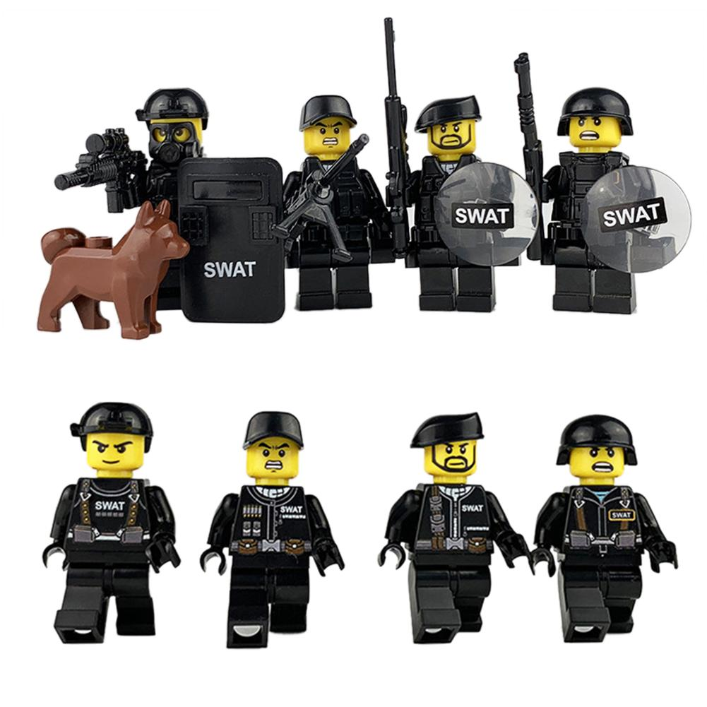 4pcs/set Military Special Forces Soldiers Bricks Figures Guns Weapons Compatible Legoings Armed SWAT Building Blocks Ww2 Toys