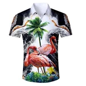 Image 5 - גברים של פלמינגו הדפסת קיץ קצר שרוול חולצות 2019 חדש הוואי סגנון חוף מזדמן Slim Fit לנשימה נוח חולצות