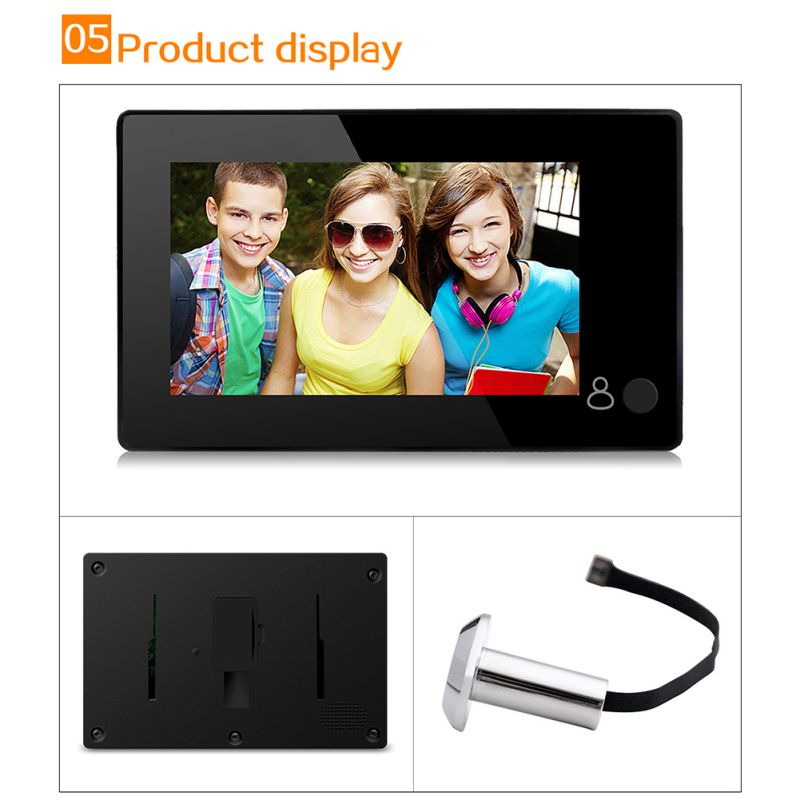 Digital Door Viewer 4.3inch Large Screen Monitor 145 Degree Home Security Wireless Peephole Camera
