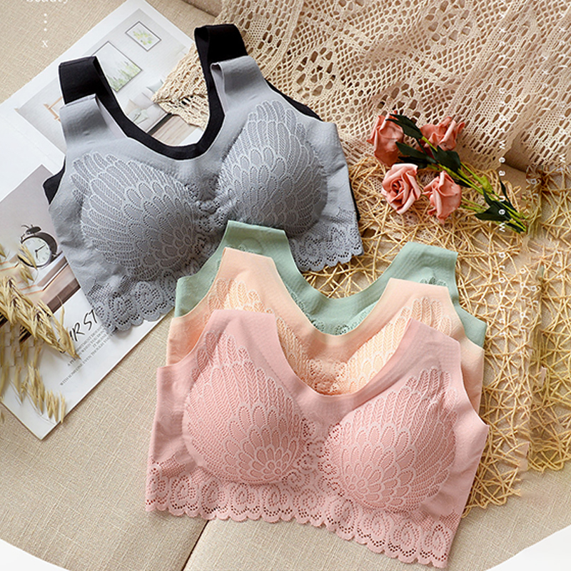 Seemless Latex Sports Bra 5D Wireless Contour Comfortable Lace Breathable Underwear for Sleeping Yoga Running Womens Bra